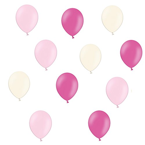 30 x Premium Luftballons Rosa/Pink/Weiß,Made in EU - 100% Naturlatex somit 100% giftfrei und 100% biologisch abbaubar - Geburtstag Party Hochzeit Silvester Karneval - für Helium geeignet - twist4®