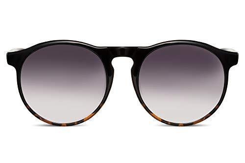 Cheapass Sonnenbrille Rund Schwarz-e Designer-Brille Demi-Effekt UV-400 Plastik Damen Herren