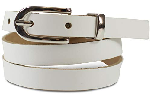 FashionCHIMP Basic Damengürtel aus 100% echtem Leder, schmaler Gürtel, Breite ca. 1,5cm, Made In Germany (Weiß)