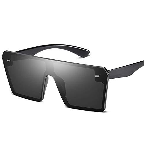 AZLMJXH Retro große quadratische Sonnenbrille, Männer und Frauen Trend der Vereinigten Staaten Trend Reis Nagel Sonnenbrille integrierte Gläser,Schwarz -