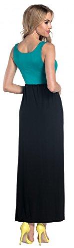 Glamour Empire. Damen Maxikleid Empire-Taille ohne Ärmeln U-Ausschnitt. 292 Teal & Schwarz