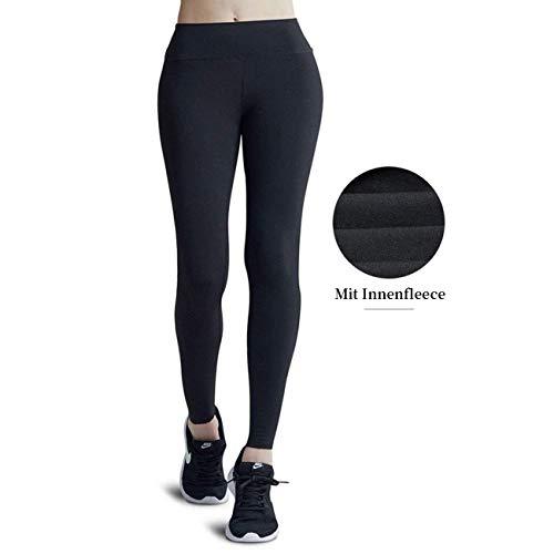 Wirezoll Leggings für Damen, Blinkdicht Lange Leggins Strumpfhose aus Baumwolle, Gr.-S, Schwarz mit Innenfleece