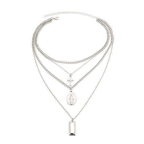 Auspiciousi Cadena de Cruz Virgen aleación aleación de Metal Varilla 4 Capas Collares Pendientes joyería Gargantilla Collar