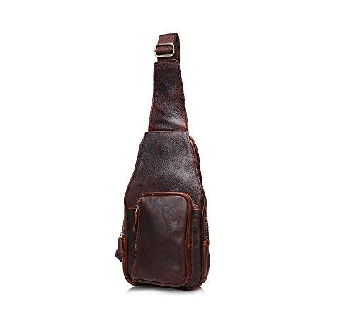 Herren echtes Leder Kasten Pack Retro Sling Schulter Brust Taschen (Hobo Leder Echtes Sling-rucksack)