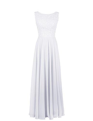 Dresstells, robe de cérémonie, robe longue de demoiselle d'honneur Blanc