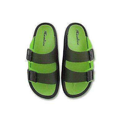 Slippers & amp da uomo;Comfort PU Primavera Casual Blu Verde Nero piatto, sandali Pool sandali Black