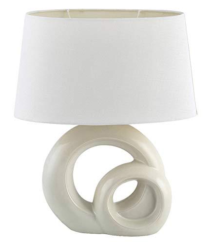 Tischleuchte Tory aus Keramik Textil weiß/cream B:33cm H:40cm mit Schalter