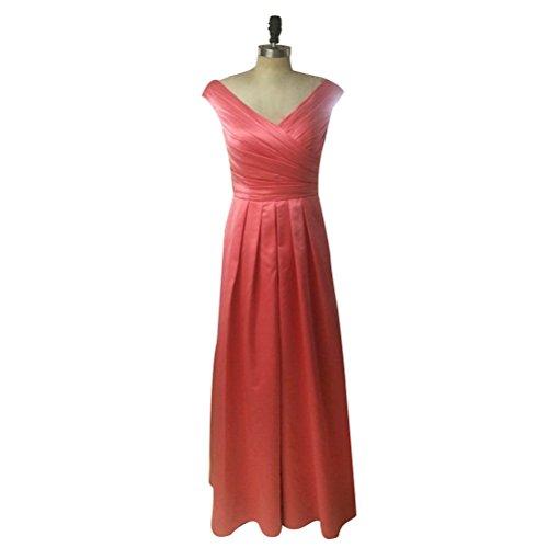 Aiyana Damen A-Linie Satin Abendkleid Langes Elegantes V-Ausschnitt ärmellos Brautjungfer Prom Kleid fur Hochzeit Schokobraun