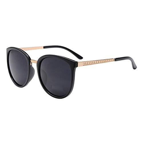 NauyGnol Übergroße runde Sonnenbrille für Damen, modisch, große Farbtöne, Retro-Stil Gr. Einheitsgröße, Black Gay