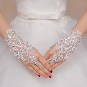 Alcoa Prime Wedding Fingerless Lace Flower Rhinestone Evening Party Short Bridal Gloves