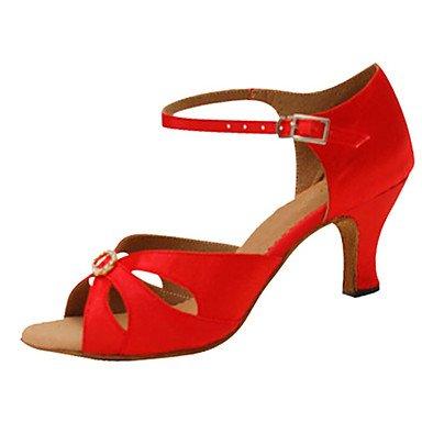 Silence @ Chaussures de danse pour femme en satin latine/Jazz/Chaussures de swing/Salsa Sandales/talons Heelpractice/débutant Red