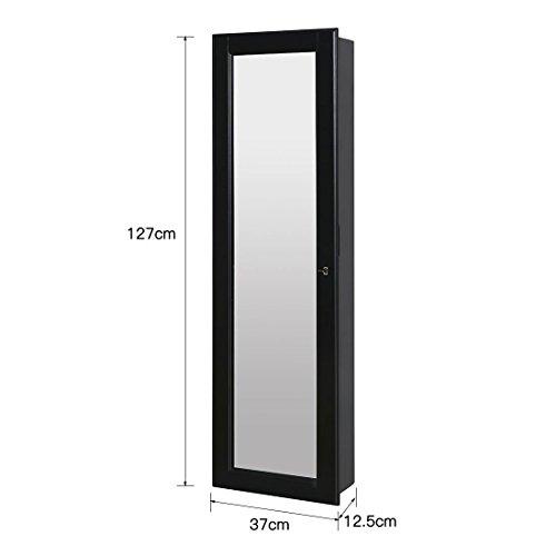 HLC Klassische Wandmontage Schmuckschrank Schminkschrank Schmuck Spiegelschrank Schmuckkasten mit Wandspiegel aus Holz - 6