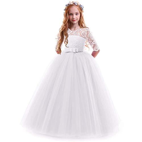 Obeeii bambina vestito principessa in pizzo manica mezza abbigliamento bambine invernale eleganti abito principessa de festa cerimonia sposa sera per ragazza 7-8 anni bianco