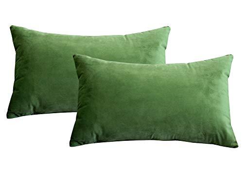 Lutanky Pack de 2 fundas de terciopelo Elegante Throw Pillow Funda de cojín suave Rectángulo sólido fundas de almohada decorativas para sofá Dormitorio Car 50 x 30 cm(Olive-green,2 piezas)