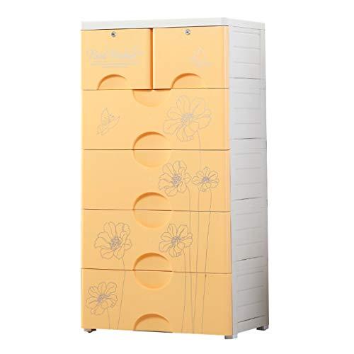 Zzg-2 Erhöhen Aufbewahrungsbox, Wohnzimmer Kunststoff Schublade Typ Baby Kleiderschrank Halle Schlafzimmer mehrschichtige Nachttisch, 66 * 45 * 130CM (Farbe : Gelb)