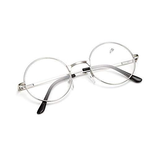 Runde Lesebrille Damen - Haodasi Retro Frühling Scharnier Metall Rahmen Klar Linse Leser Brillen Dioptrie +1.00 bis +4.00