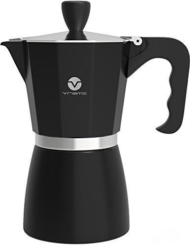 Vremi Herdplatten Espressomaschine - Espressokocher für Gas- oder Elektroherdplatten- 6 Mokkatassen Espresso Schuss Kocher für italienischen Espresso Cappuccino oder Latte - Schwarz