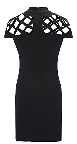 Lannorn Damen Zwei Stil Mode Overall Overalls Jumpsuit Kleid, Fischnetz Lang Hosen Rundhals Ausschnitt Frauen Bodycon Party Abendmode. Kleid Schwarz