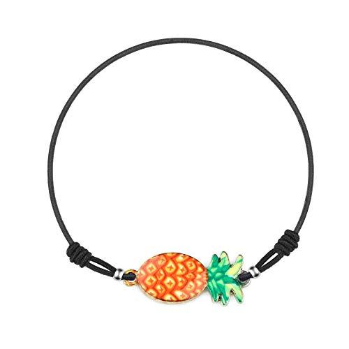 Made by Nami Fußkettchen Damen Fußkette Fusskettchen Boho Ethno Bunt Fusskette Fußband Festival Ananas (Orange)
