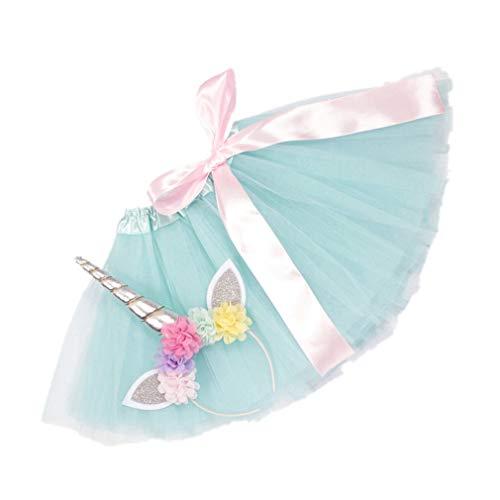 2PC Prinzessin Rock Mädchen Set - Ballet Tutu Tüllrock Kinder + Einhorn Haarreif für Tanz Party Karneval für 2-5 Jahre