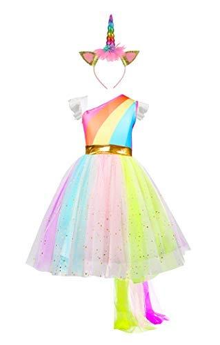 Pretty Princess Ragazze Unicorno Fiore Arcobaleno Abito Principessa Costume Tutu Festa Elegante Vestito e Accessori 5 6 Anni