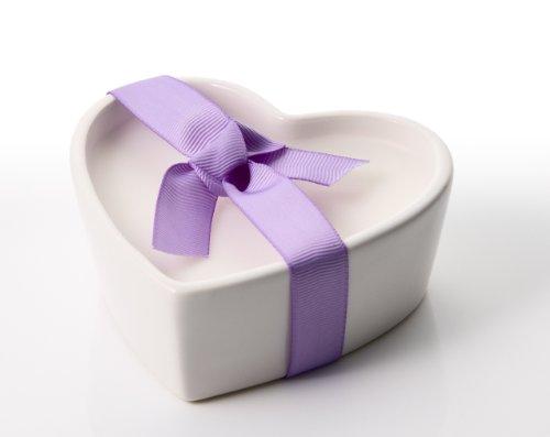 Stoneglow-Candela profumata a cuore bianco ceramica lavanda Micron Profumo di