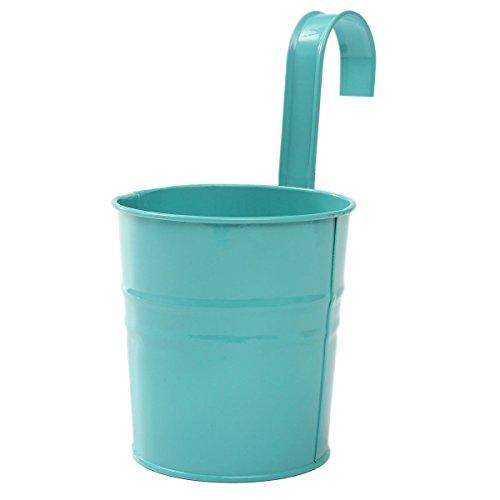 LAAT Flower Pot Container Iron Flower Vase Metal Tin Bucket Desk Storage Basket Pen Holder Makeup Brush Organizer Plant Vase Home Decoration (Green)