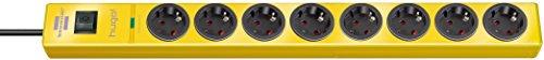 Brennenstuhl hugo! Steckdosenleiste 8-fach mit Überspannungsschutz (2m Kabel und Schalter, Gehäuse aus bruchfestem Polycarbonat) Farbe: gelb