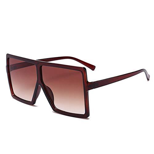 Passionate turkey Leidenschaftlicher Truthahn muselife übergroße Sonnenbrille Frauen großer Rahmen quadratische Sonnenbrille Männer Designer Vintage Gradient Shades Brillen, 3-Coffee.Coffee