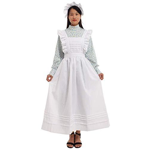 , viktorianisches Dienstmädchen-Kostüm mit Schürze, 100% Baumwolle - grün - Small ()