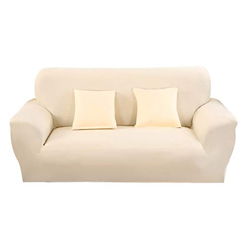 Hotniu 1-Stück Elastisch Sofaüberwurf, Sofaüberzug Polyester, Sofahusse Sofa Abdeckung Stretch, Sofabezug für Sofa, Couch, Sessel zum Schutz, mehrere Farben (3 Sitzer 175-220cm, Beige)