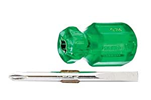 Taparia 974 Steel Two in One Stubby Screw Driver (Green and Silver)