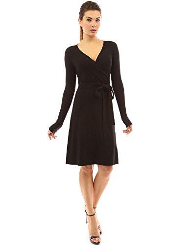 PattyBoutik Damen Strickkleid, langärmlig mit V-Ausschnitt und Gürtel (schwarz 46/XL)