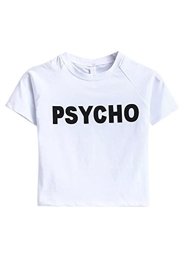 ACHICGIRL Wome's Short Sleeve Letter Printed Slim Fit Crop Top Tee white