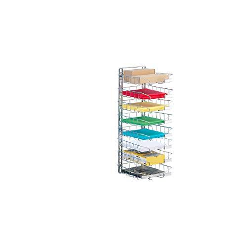Stahldraht-Korb-Sortierablage - Wandmodell, einreihig, mit 8 Körben - Ablagefächer Drahtablagen Körbe Postsortierstationen Ablagesysteme Postsortieranlagen Ablagekörbe Ablagen Drahtkörbe Körbe zur