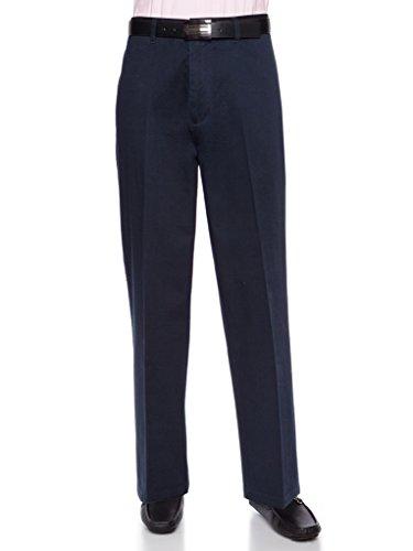AKA Herrenhose, knitterfrei, Baumwolltwill - Traditionelle Passform, Chino gerade, legere Hose - Blau - 33W / 32L -