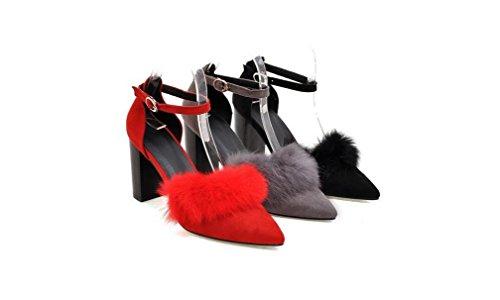 Beauqueen Pumps Femmes Printemps Et Eté Talon Haute Vintage Suede Rare Drôle Banquet Femmes Gris Noir Rouge Chaussures Occasion Europe Taille 33-43 Grey