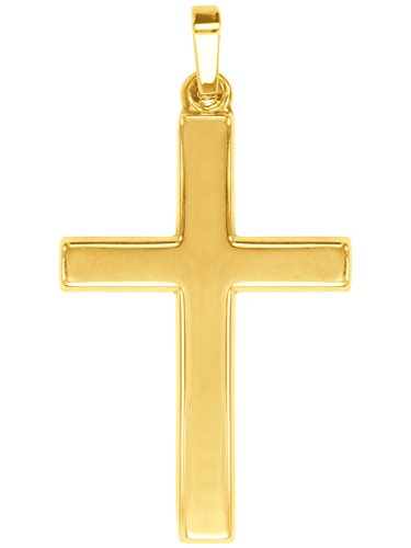 MyGold Kreuz Anhänger (Ohne Kette) Gelbgold 585 Gold (14 Karat) Massiv Gegossen Glanz 36mm x 19mm Herrenschmuck Goldkreuz Männerkreuz Männerschmuck Geschenke Für Männer Hoss V0009487