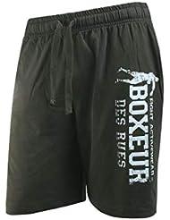 BOXEUR DES RUES Serie Fight Activewear, Pantaloncini Basici con Logo Uomo, Verde Militare, XXL