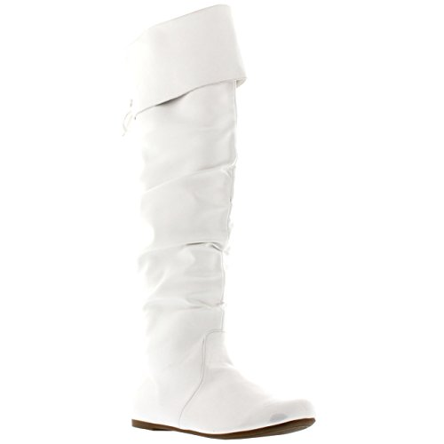 Viva Womens Riding Flat Thigh High Winter Biker Shoes Fashion Tall Pirate Boot - White - UK7/EU40 - KL0048I
