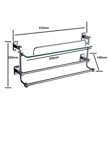 t Rack Wc Kupfer Bad Rack Single Layer mit Doppel Rod Handtuchhalter Rack Gehärtetem Glas Regal Lagerregal,41 * 26cm ()
