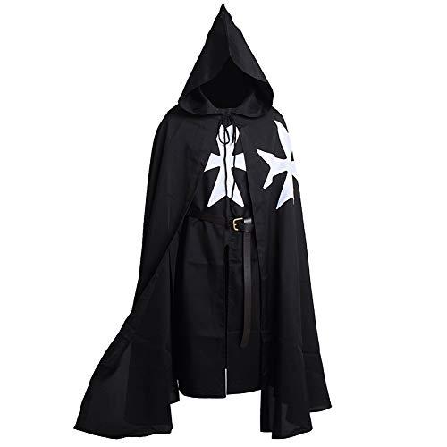 BLESSUME Mittelalterliche Hospitaller Rittertunika Mittelalterlich Chevalerie Ritter Tunika Umhang Kostüm (Black 1)