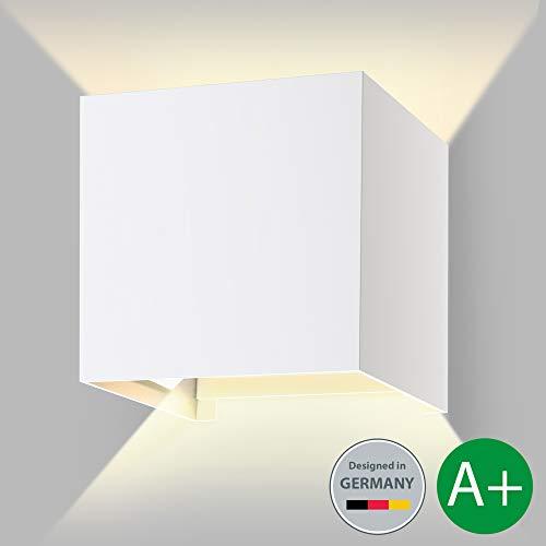 B.K.Licht LED Wandleuchte Außenwandleuchte inkl. LED-Modul Außenleuchte Außenlampe Wandlampe für Innen und Außen weiß IP44