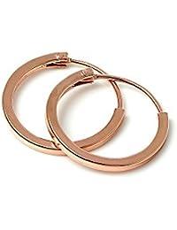 Pendientes Aro Cuadrados en Plata de Ley Bañados en Oro Rosa Grosor 1mm | 12mm