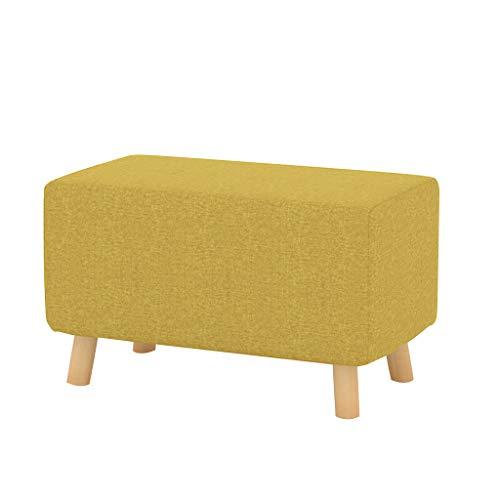 Größe: 60 × 34 × 36 cm Kreative Massivholz Fußhocker PU Leder Sofa Hocker für Kinder Ändern Schuhe Hocker Gepolstert Fußhocker Wohnzimmer