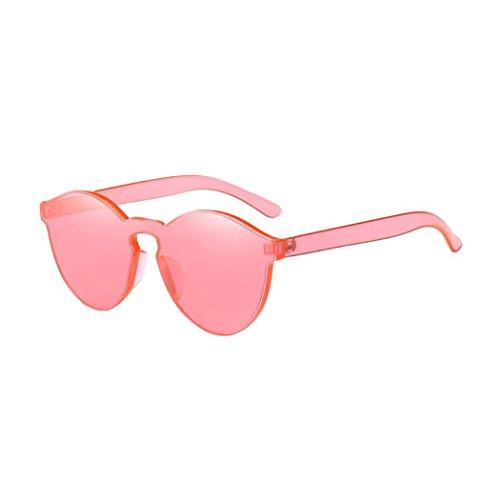 URSING Unisex Fashion Katzenauge Sonnenbrille Cateye Shades Sunglasses Integriertes UV Süßigkeit gefärbt Brille Schick Klassische Retro Runde Verspiegelt Sonnenbrillen für Herren und Damen (Wassermelonenrot)