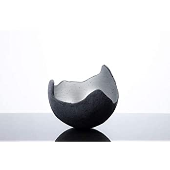 Lichtschale silber – M (20cm) – Beton schwarz-grau – Unikat handmade – Geburtstagsgeschenk – Einzigartiges Geschenk…