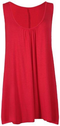 Damen Ärmellos Damen Stretch Gerüscht Rund U-ausschnitt Ungerader Saum Schlicht Langes Top T-Shirt Top Übergröße - Rot, Damen, 48-50 (Star-48)