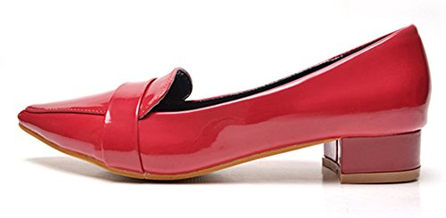 Bild von Aisun Damen Lack Blockabsatz Pointed Toe Loafer Schuhe