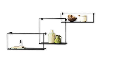 Lifa living mensole da muro design in set da 3, mensole da parete sospese stile industriale, mensole a incastro in metallo nero, capacità fino a 3 kili